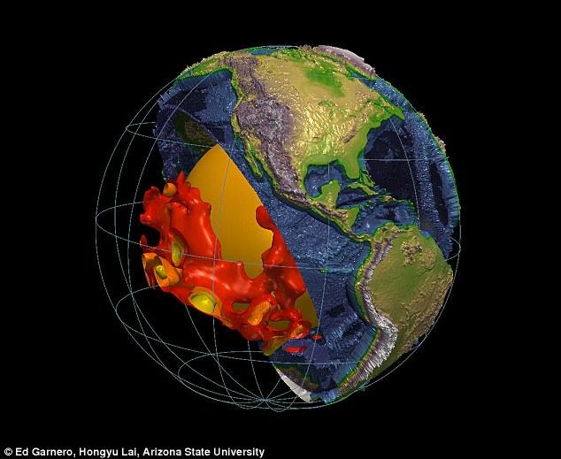 Les gigantesques structures blob-like sont situés au-dessus du noyau de la Terre et sont censés être composés d'un matériau différent de celui qui comprend le reste du manteau.